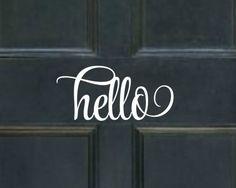 Hello Door Decal Hello Decal Hello Vinyl Decal Hello Vinyl Lettering Front Door\u2026 & Front Door Decal Hello Door Decal Hello Vinyl Lettering Hello Vinyl ...