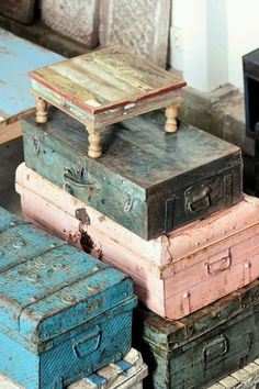 colours suitcases vintage pink blue green