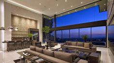 Diseño de Interiores & Arquitectura: La imposición de Sunset Strip en Los Ángeles Residencia con amplias vistas de la ciudad