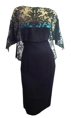 a Chic Black Slim Sheath Style Cocktail Dress w/ Illusion Lace Bodice and Black Lace Cape Turquoise Trim circa 1960s