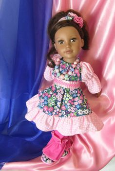"American Girl Doll Clothes 18 inch Dolls Pink Rock a Billy 4 PC Doll Dress Fits American Girl Doll and Similar 18"" Dolls"