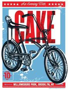 Cake concert poster graphic design inspiration by Pete Cardoso Bike Poster, Poster S, Typography Poster, Poster Prints, Band Posters, Cool Posters, Music Posters, Street Art, Bicycle Art