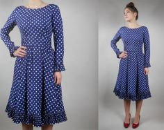 Vintage 70s Victor Costa Polka Dot Dress / 1970s by TimTomVintage, $59.00