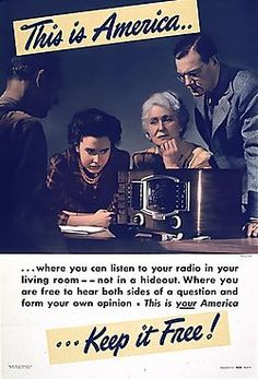 """WWII propaganda. When was the last time that """"hey you can listen to different ideas and then form your own"""" was part of the American political conversation?"""