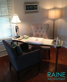 Luxurious Manicure Station at RAINE NAIL BOUTIQUE #rainenailboutique…