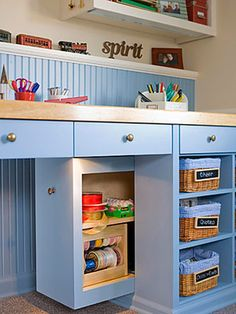"Awesome hidden storage! ||| How clever! I think even the most organized among us could use a ""junk drawer"" for the unsightly things that sometimes get out of hand. I also love the use of beadboard and that color shouldn't work, but it really does. LOVE this!"