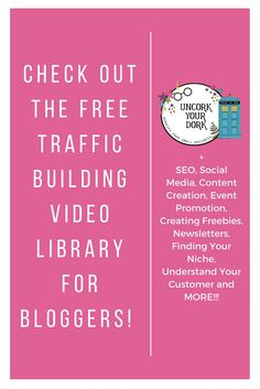 Every wed, Terra Dawn from Uncork Your Dork releases 3-4 NEW videos dedicated to some aspect of traffic building for your blog! From SEO to understanding your customer...this is an invaluable resource from a blogger who's been in the business for over 10 years. Click the image to sign up for free!