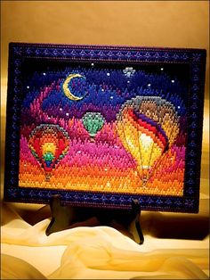 Favorite Scenes in Long Stitch needlepoint, hot air balloons