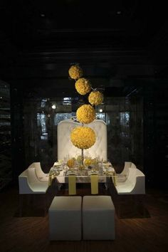 Yellow rose pomander balls suspended with glass bubbles above arrangements of cymbidium orchids, succulents and hydrangea Floral Centerpieces, Table Centerpieces, Wedding Centerpieces, Wedding Table, Flower Arrangements, Wedding Decorations, Table Decorations, Table Arrangements, Decor Wedding