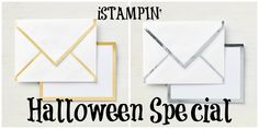 Receive either the Gold or Silver Foil-Edged Cards & Envelopes for FREE through tomorrow, 10-31-18. Visit iStampin.com to learn all the details! Envelopes, Stampin Up, Paper Crafts, Halloween, Frame, Silver, Projects, Cards, Gold