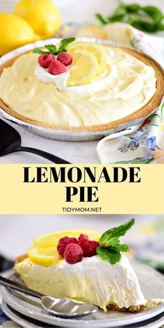 No-bake Lemonade Pie is a dessert that tastes like summer. Serve it cold or frozen this pie is a snap to make and perfect for any summertime gathering. PRINTABLE RECIPE at TidyMom.net #lemonade #pie #summerrecipes #nobake #lemon #dessert #lemonpie