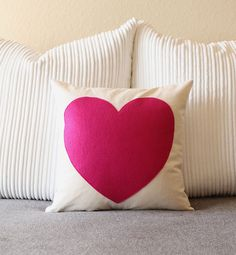 Valentine   Cotton and Felt Pillow Cover by ekofabrik on Etsy, $55.00