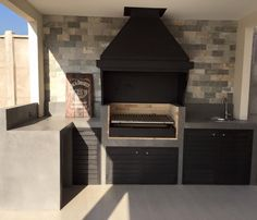 Barbecue Garden, Outdoor Barbeque, Outdoor Kitchen Design, Patio Design, House Design, Parrilla Exterior, Built In Braai, Barbecue Design, Garden Deco