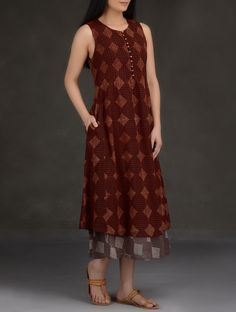 Maroon Black Ajrakh Printed Pintuck Cotton Mul Dres