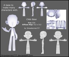 3D Chibi Base by Strawberries777 Has download link to blender and .obj lowpoly character base