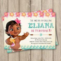 MOANA BIRTHDAY INVITATION Baby Moana Invitation Birthday Invites Party Ideas