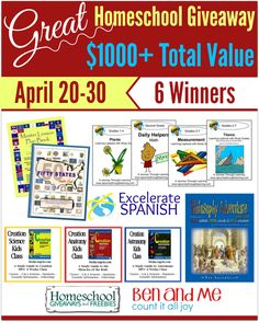 Great Homeschool Giveaway - April Edition (plus FREEBIES for everyone)! - My Joy-Filled Life
