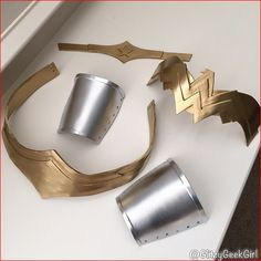 ✨Wonder Woman cosplay progress! I spray painted my armor pieces since it finally stopped raining outside for a bit. I still need to color the star on the crown red and attach hair combs to the sides. I'll wear the belt and cuffs by lacing them up and the chest piece will be velcro'd onto my corset. ❤️ I'll be Wonder Woman this Saturday at #DallasComicCon ✨