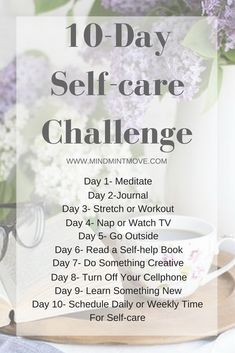 Join me in my 10-Day Self-care Challenge! Where I will provide you with 10 daily self-care activities and tips, an example weekly self-care schedule, and a guide to begin journaling!