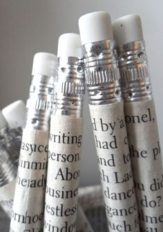 Jane Austen pencils - hand wrapped in pages from Jane Austen books. No tutorial.