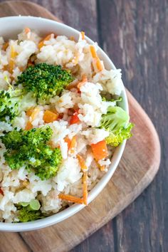 I love easy, versatile recipes like Chicken Flavored Rice.  First, this had a great chicken flavor and I loved the idea of putting the veggies to cook with the rice.  What surprised me the most about the recipe was the texture of the rice when it was done.  It was so light and fluffy, not sticky, not soggy…it was perfect.  I have never made rice on top of the stove that was as good as what came out this way.  The versatility of the recipe is amazing. You could switch the chicken broth out to…