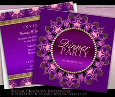 Regal Lace Heart Purple Dinner Party Invitation | Paperstation