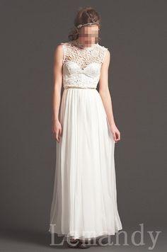 round neck sleeveless lace and chiffon by Lemandyweddingdress, $225.00