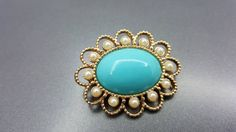 Sarah Coventry Magic Moods Brooch 1973 Colorful turquoise and pearls Cameo Style