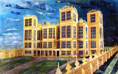 'Hardwick Hall' by Ed Kluz, 2013 (original paper collage) Contemporary Artists, Modern Art, Irish Art, Historical Architecture, Romanticism, North Yorkshire, Art School, British, Story Starters