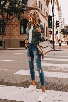 Two affordable walmart outfits for spring Fashion jackson Walmart Outfits, Spring Outfit Women, Korean Spring Outfit, Green Utility Jacket, Outfit Jeans, Comfy Outfit, White Shoes Outfit, White Tshirt Outfit, Jean Jacket Outfits