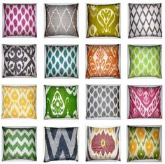Toss Cushions and Home Decor - Mixing Patterns in 4 Easy Steps Pattern mixing is a great way to add pizzaz and personality to any room, however, it can be Ikat Pattern, Pattern Mixing, Fabric Patterns, Pillow Patterns, Pattern Design, Interior Design Elements, Ikat Pillows, Cushions, Ikat Fabric