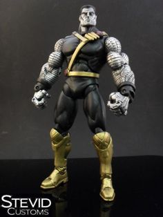 this is a marvel legends Ultimate Colossus Custom Action Figure he was made by figure realmer stevid and he used a jakks pacific wwe triple h body, colossus neck, head, arms and shoulders, mr. sinister boots happy pinning