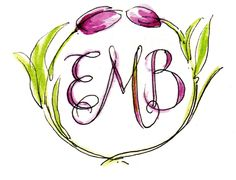 pretty pink tulips: Custom Monograms - by PVE Design Pink Tulips, Calligraphy Letters, Monogram Design, Whimsical Art, Decorating Blogs, Pretty In Pink, Hand Lettering, Initials, Artsy