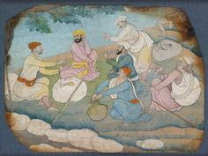 Style: Pahari; Type: Court life, urban life, and mythological scenes; Title: 'Travellers making music by the wayside', Himachal Pradesh, 1760-1770