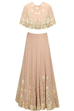 Pale pink sequins embroidered cape lehenga set available only at Pernia's Pop-Up Shop.