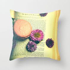 The Spirit of the Renaissance  Throw Pillow,vintage book, book love, flowers, macaroon