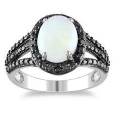 Miadora Sterling Silver Opal and 1/10ct TDW Black Diamond Ring (1 5/8ct TGW) $80