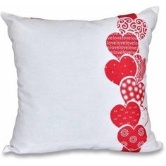 Simply Daisy 16 inch x 16 inch Valentine Print Pillow, Red Pillow Embroidery, Applique Pillows, Burlap Pillows, Sewing Pillows, Decorative Pillows, Patchwork Pillow, Throw Pillow Sets, Throw Pillows, Funny Pillows