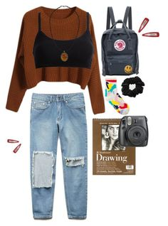 khaki green backpack, brown chunky knit sweater, plain black bralette, and ripped pale blue jeans, 9 Mode Outfits, Grunge Outfits, Grunge Fashion, Look Fashion, Fall Outfits, Casual Outfits, Fashion Outfits, Fashion Trends, Grunge Clothes