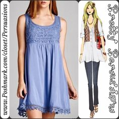 "NWT Periwinkle Crochet Lace Trim Sleeveless Dress NWT Periwinkle Crochet Lace Trim Sleeveless Dress  Available in sizes S, M, L Measurements taken from a size small  Length: 33"" Bust: 36"" Waist: 36"" Hips: 44""  Features • intricate crochet lace yoke bust & bottom hem trim • rounded neckline  • lined • sleeveless  • soft, breathable material  • lined • non sheer  100% Rayon Color: Periwinkle   * Only available in periwinkle. Other colors are of same dress to show more detail.   Bundle…"