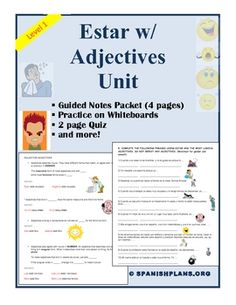 """15 page booklet for Spanish Teachers on teaching how to use the adjective """"estar"""" with adjectives to describe feelings in Spanish. Less than 50 cents a page."""