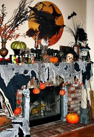 Need ideas to decorate your Halloween Mantel? Here are best Halloween Mantel Decorating Ideas that will give your Halloweeen decoration a new dimension. Christmas Fireplace Mantels, Halloween Fireplace, Halloween Home Decor, Halloween House, Spooky Halloween, Holidays Halloween, Vintage Halloween, Halloween Crafts, Halloween Decorations