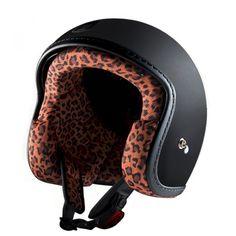 ac232ac6aa Motorcycle jet helmet matt black with leopard lining Racer by Exklusiv  designed in France Helmets
