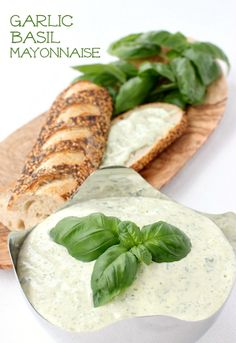 A flavorful mayonnaise that only takes 5 minutes to prepare. Use it anywhere you'd normally just add mayonnaise! Basil Aioli Recipe, Basil Sauce, Turkey Sandwiches, Pasta, Cooking Recipes, Herb Recipes, Sauce Recipes, Cooking Tips, Vegan Recipes