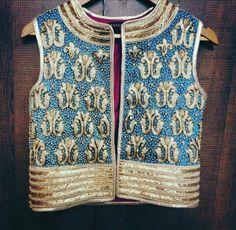 jacket Blouse by Surabhi Arya Choli Designs, Sari Blouse Designs, Dress Designs, Indian Attire, Indian Wear, Indian Dresses, Indian Outfits, Indian Jackets, Indian Look