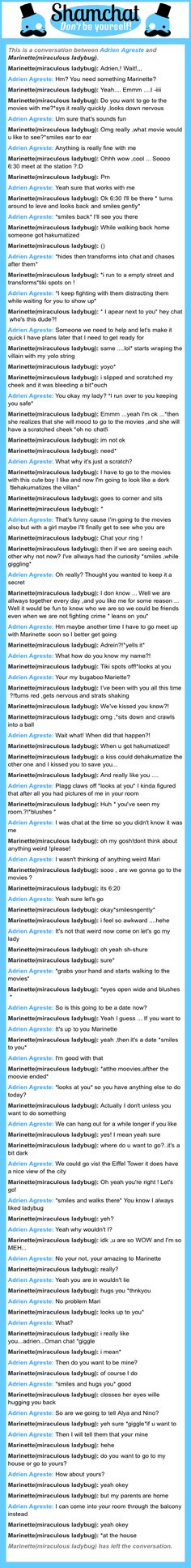 A conversation between Marinette(miraculous ladybug) and Adrien Agreste