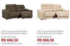 Sofá 3 Lugares Sportage Retrátil e Reclinável - Duas Cores Disponíveis << R$ 59990 >>