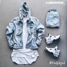 Today's top #outfitgrid is by @timothykoh_. ▫️#AllSaints #DenimJacket ▫️#FearOfGod #Tank ▫️#StampdLA #Denim ▫️#AcneStudios #Hoodie ▫️#JordanIV #WhiteCement