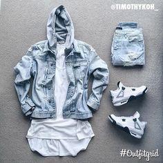 Today's top #outfitgrid is by @timothykoh_. ▫️#AllSaints #DenimJacket ▫️#FearOfGod #Tank ▫️#StampdLA #Denim ▫️#AcneStudios #Hoodie ▫️#JordanIV #WhiteCement