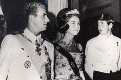 King Juan Carlos and Queen Sofia of Spain with a young Prince Charles of England.